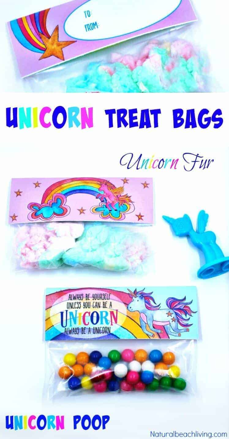 Unicorn Treat Bag Toppers Party Favor Printables by Natural Beach Living | Whimsical DIY Unicorn Ideas