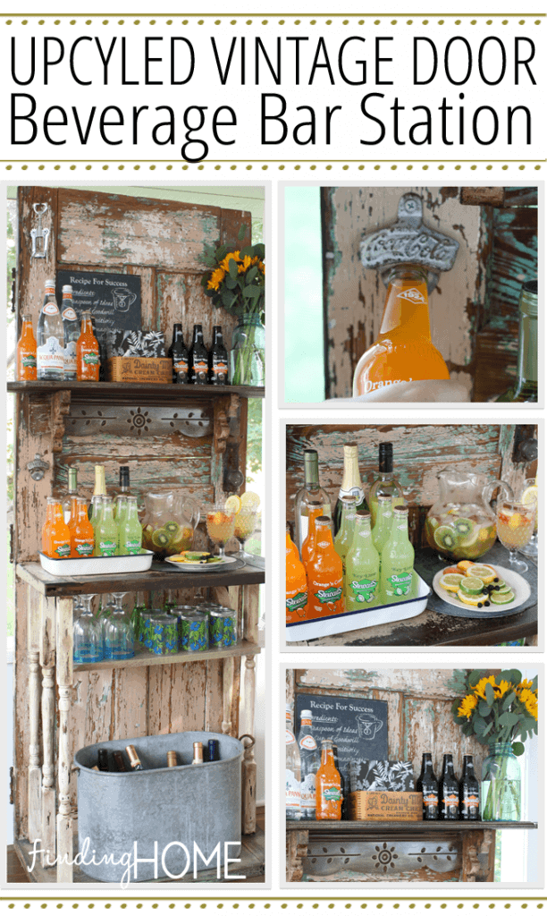 Upcycled Vintage Door Beverage Station by Finding Home Farms | Garage Sale Makeovers that Wow!