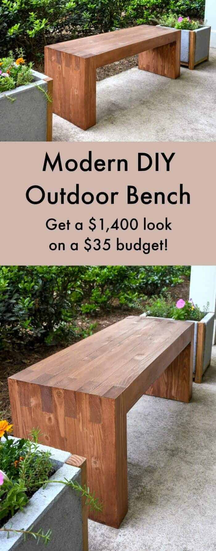 Williams Sonoma Inspired Modern Outdoor Bench by DIY Candy | Budget Backyard Project Ideas