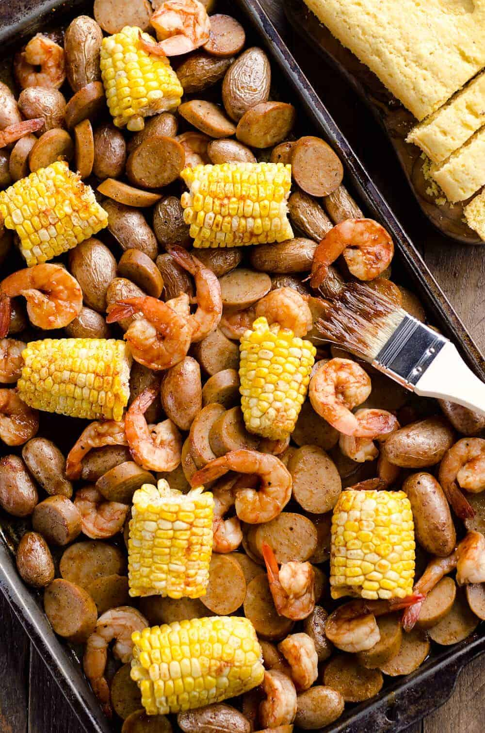 BBQ Shrimp Sausage Sheet Pan Dinner by The Creative Bite | Easy Sheet Pan Dinner Ideas that Make Dinner Easy and Delicious!