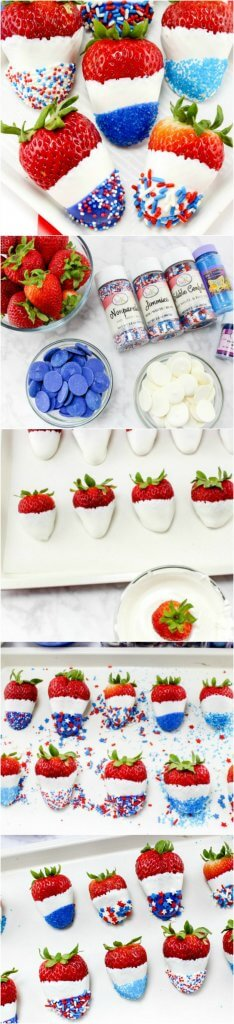 How to make Red White and Blue Chocolate Covered Strawberries