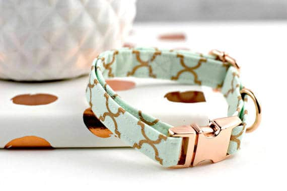 Mint Green and Rose Gold Trellis Dog Collar by Buckeye Belle Boutique on Etsy | Homemade Dog Treat Recipes and DIY Ideas for Dogs