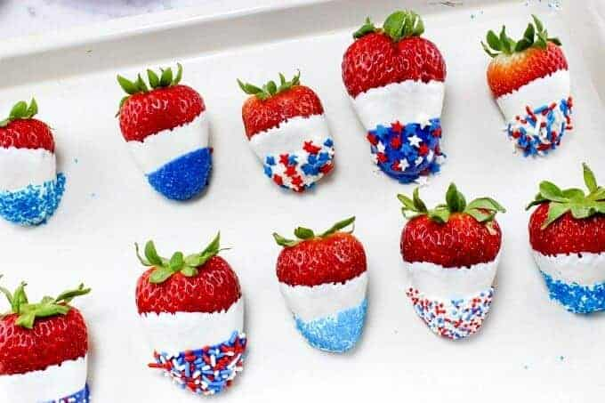 Red White and Blue Chocolate Covered Strawberries