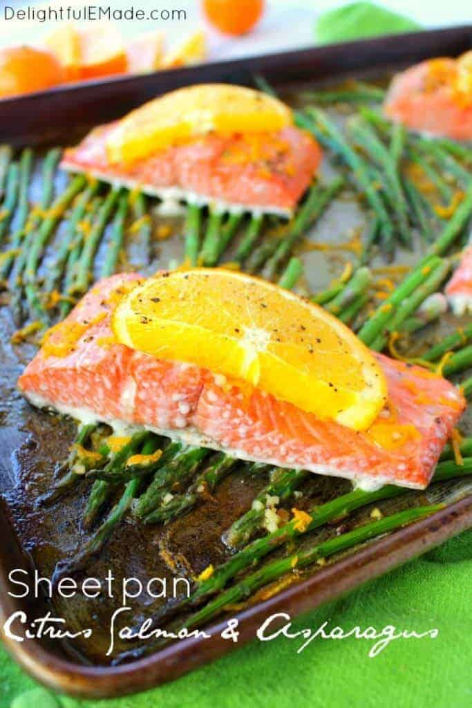 Sheet Pan Citrus Salmon and Asparagus by Delightful E Made |asy Sheet Pan Dinner Ideas that Make Dinner Easy and Delicious!