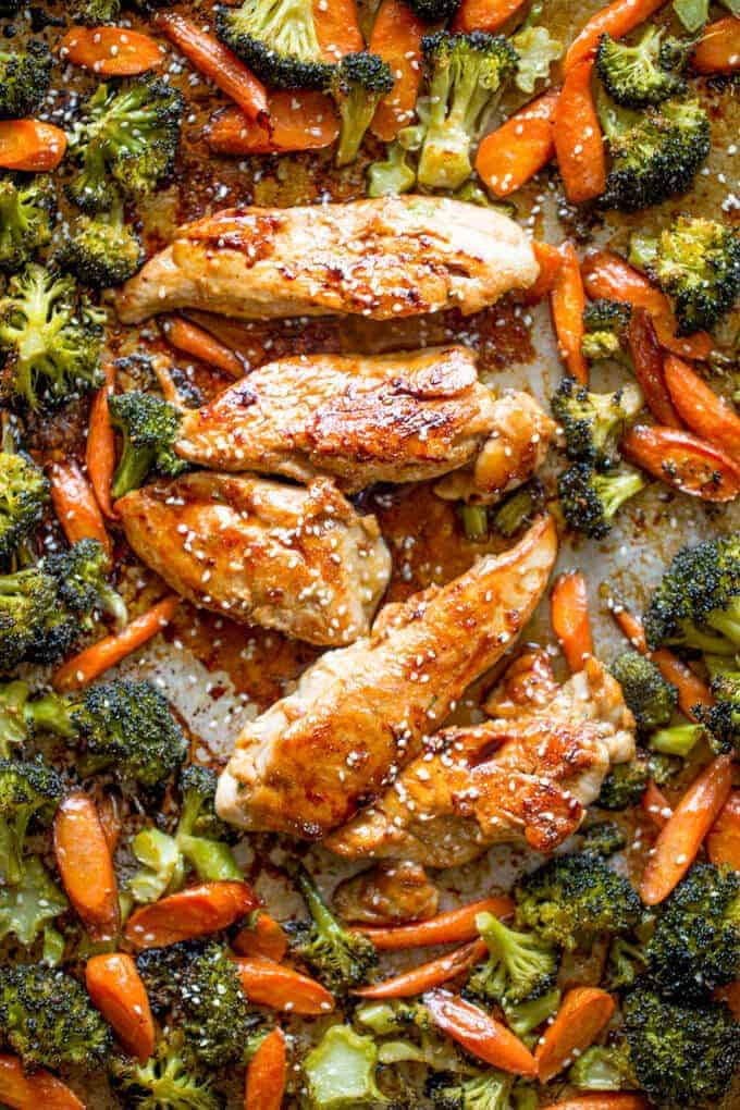 Sheet Pan Korean Chicken and Vegetables by Dinner Then Dessert | Easy Sheet Pan Dinner Ideas that Make Dinner Easy and Delicious!