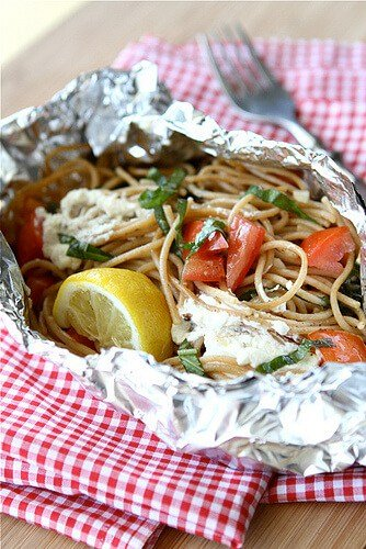 Whole Wheat Pasta Packet Recipe with Goat Cheese Tomatoes for Camping by Cookin Canuk  Amazingly Delicious Camping Recipes