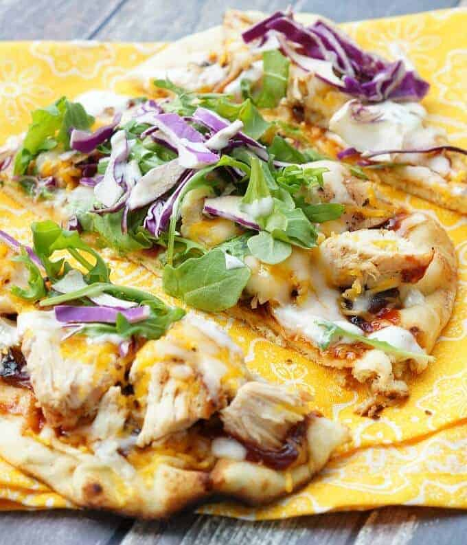 Naan flatbread with BBQ Chicken