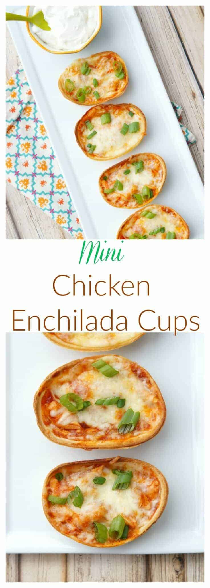 Mini Chicken Enchiladas Cups are the perfect two bite appetizer! Cheesy, easy, and full of Mexican flavors, these are perfect for any party or event!