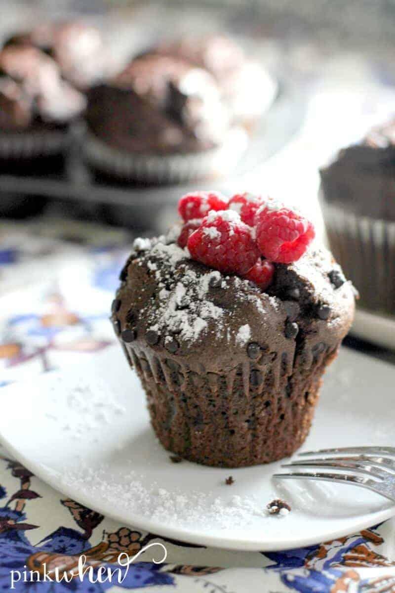 Chocolate Raspberry Breakfast Muffins - Princess Pinky Girl