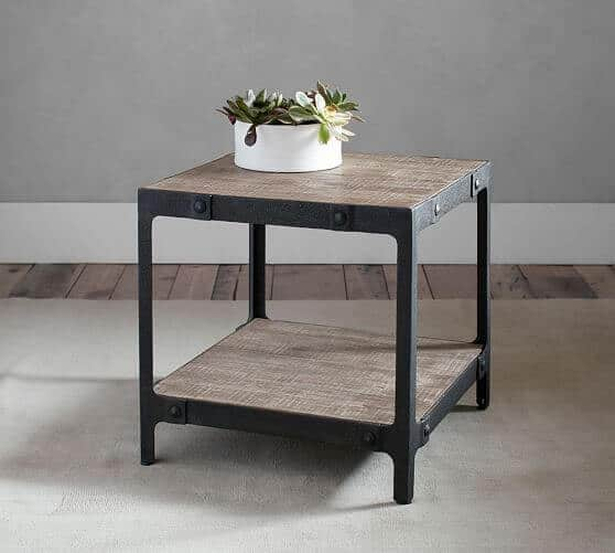Clint Reclaimed Wood Side Table via Pottery Barn | Farmhouse Decor Ideas for the Fixer Upper Look