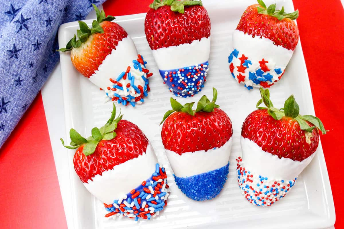 4th of July chocolate covered strawberries on white plate