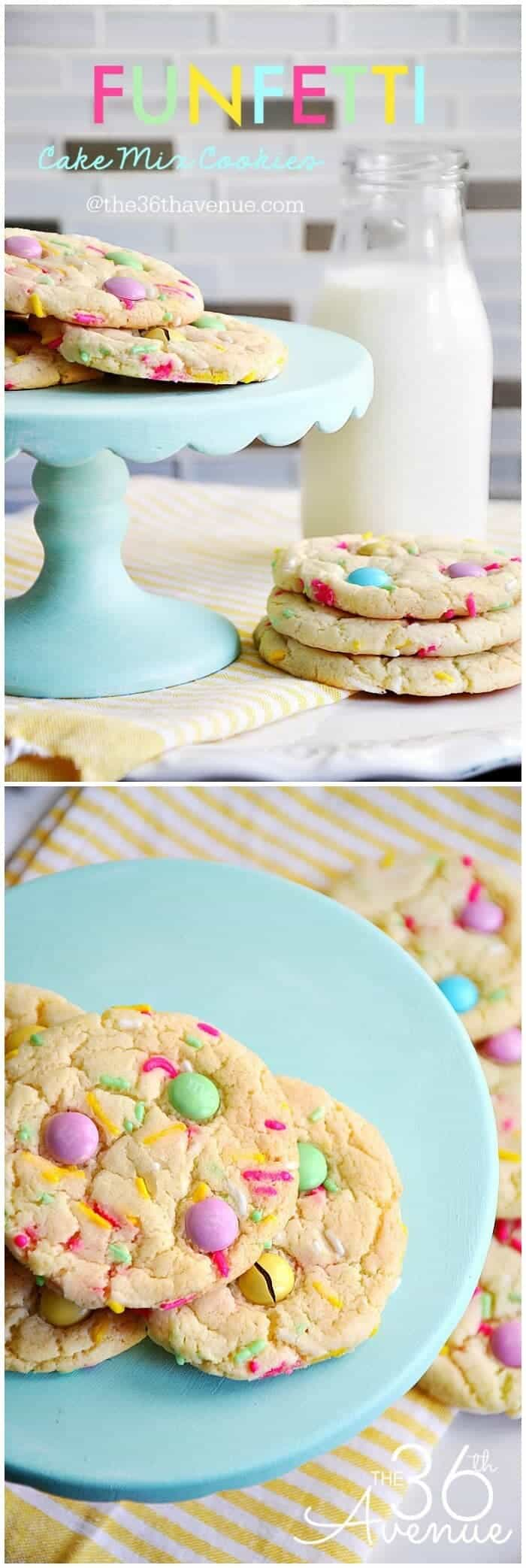 Funfetti Cake Mix Cookies by The 36th Avenue | The best cake mix hacks and recipes on Pinterest! They are all so quick, so easy and so delicious!