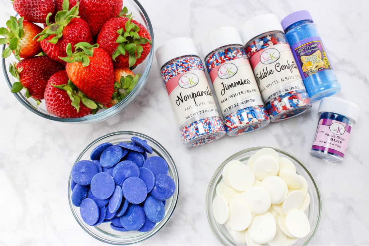 ingredients for 4th of July strawberries