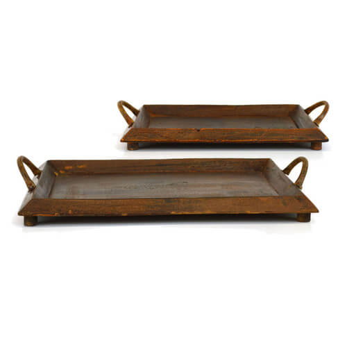 Sheas Wildflowers 2 Piece Wooden Tray Set | Farmhouse Decor Items for the Fixer Upper Look
