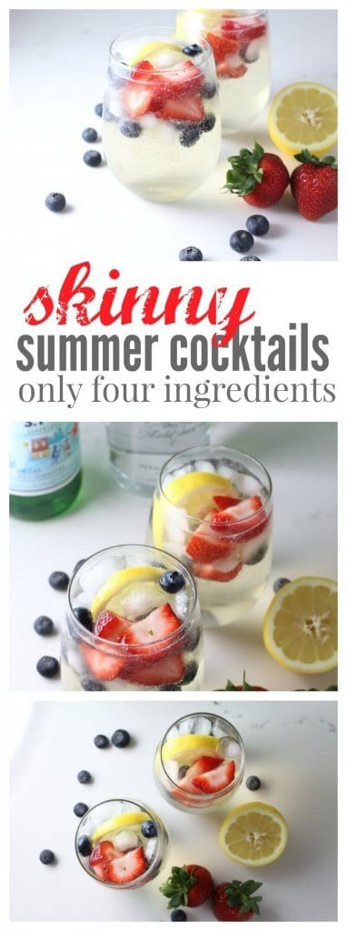 Summer is just around the corner and this skinny summer cocktail is going to get your sunny days off to an amazing start! Vodka, Pellegrino and some fresh fruit, perfect to sip by the pool.