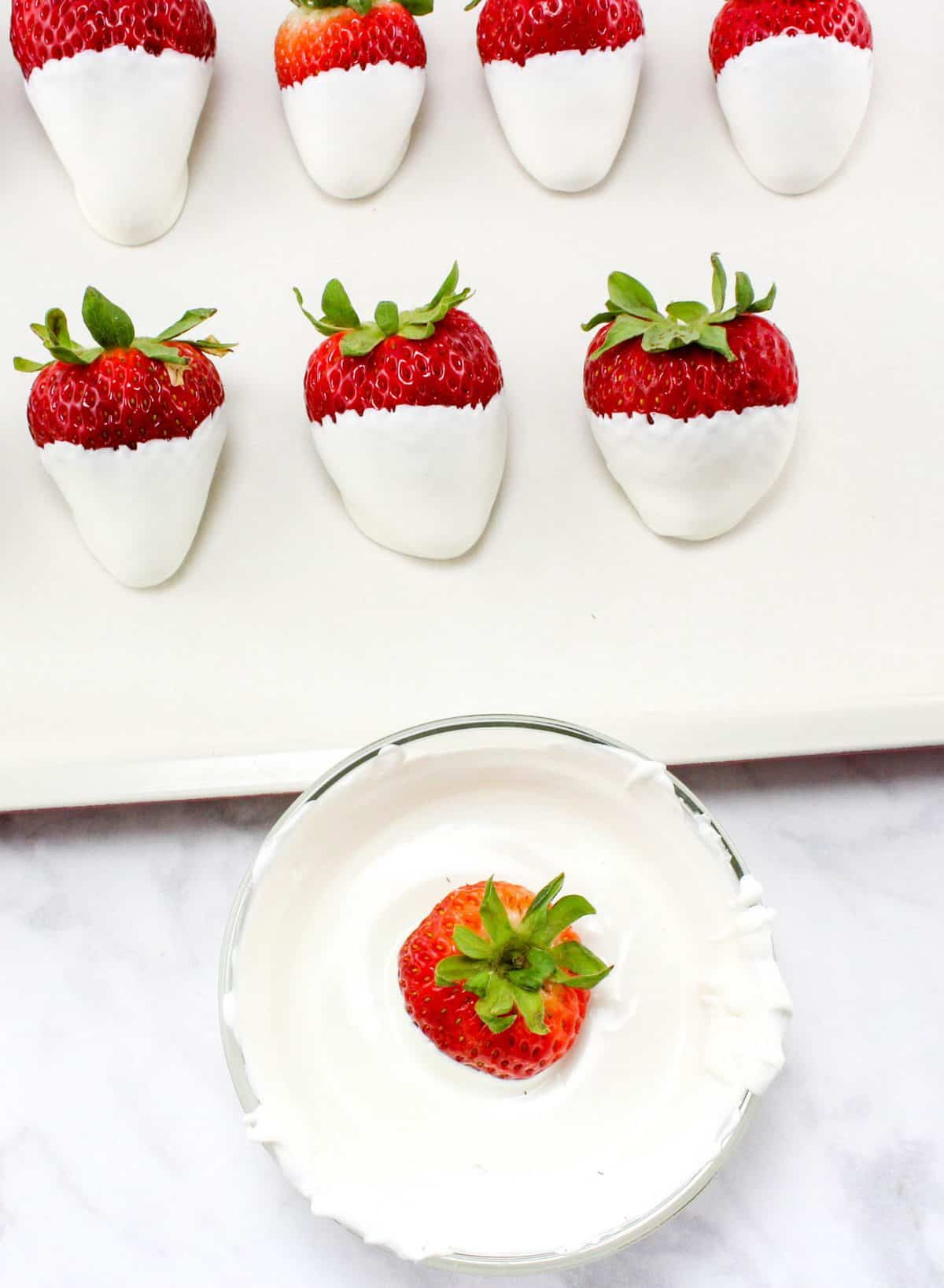 dipping strawberries in white chocolate