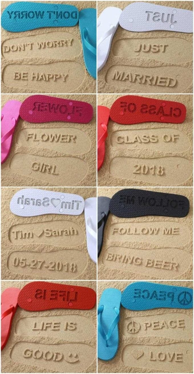 Custom made flip flops to make words in the sand