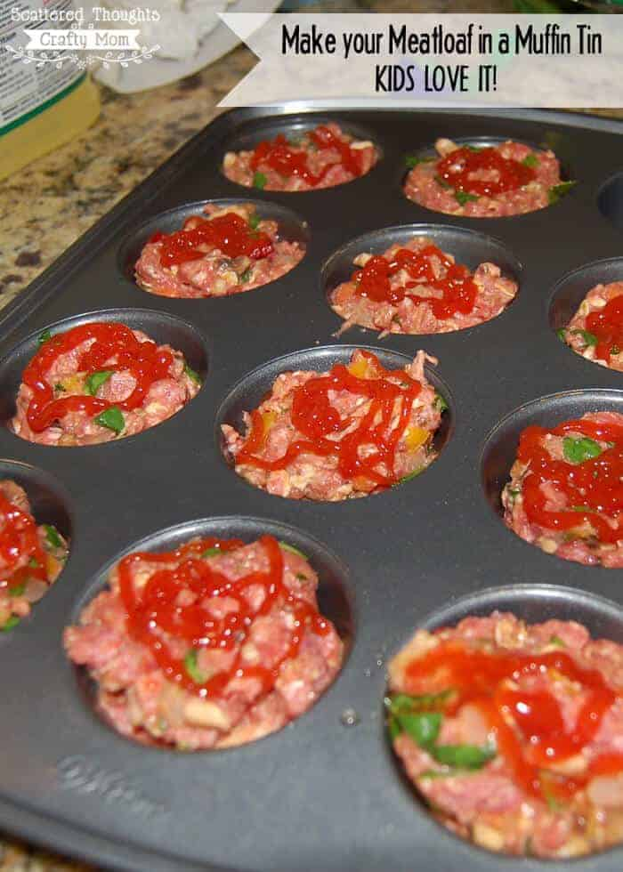 Mini Meatloaf in a Muffin Tin by Scattered Thoughts of a Crafty Mom | Muffin Tins are for more than just cupcakes and muffins. You are going to love these muffin tin recipes!