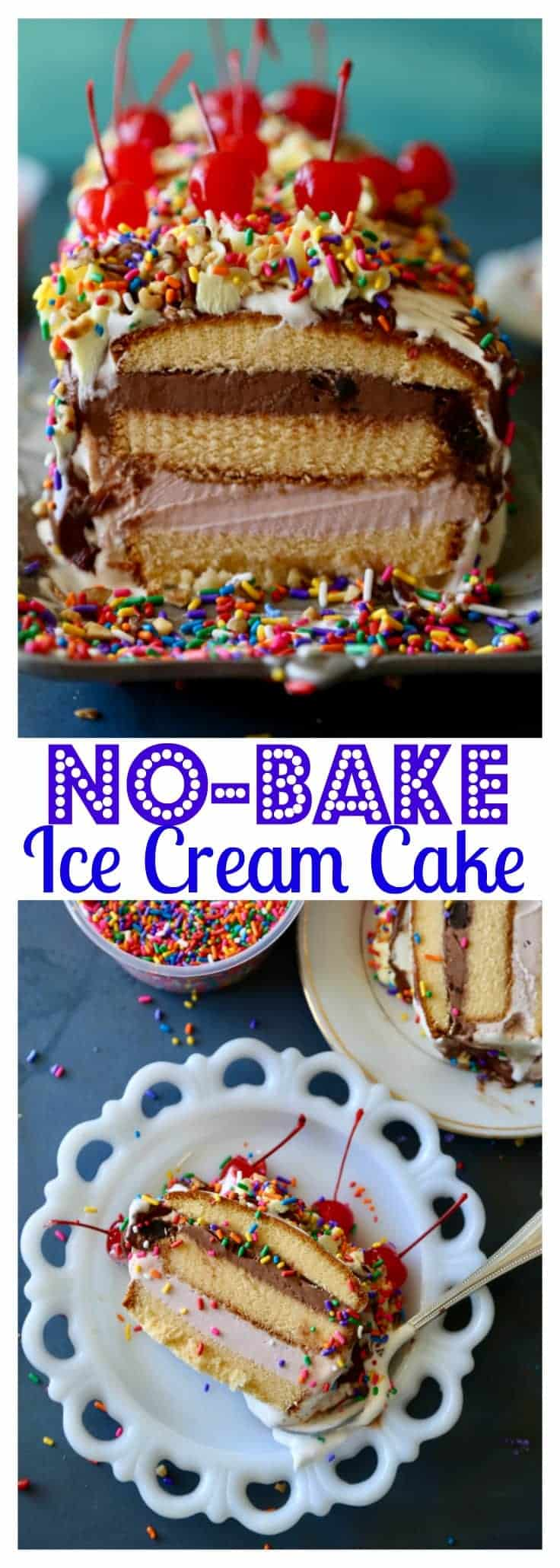 This No Bake Ice Cream Cake has layers of pound cake, your favorite ice cream flavors and is covered by yummy cool whip! Add your favorite toppings, like hot fudge, sprinkles and whipped cream and you will have a delicious dessert ready in no time!