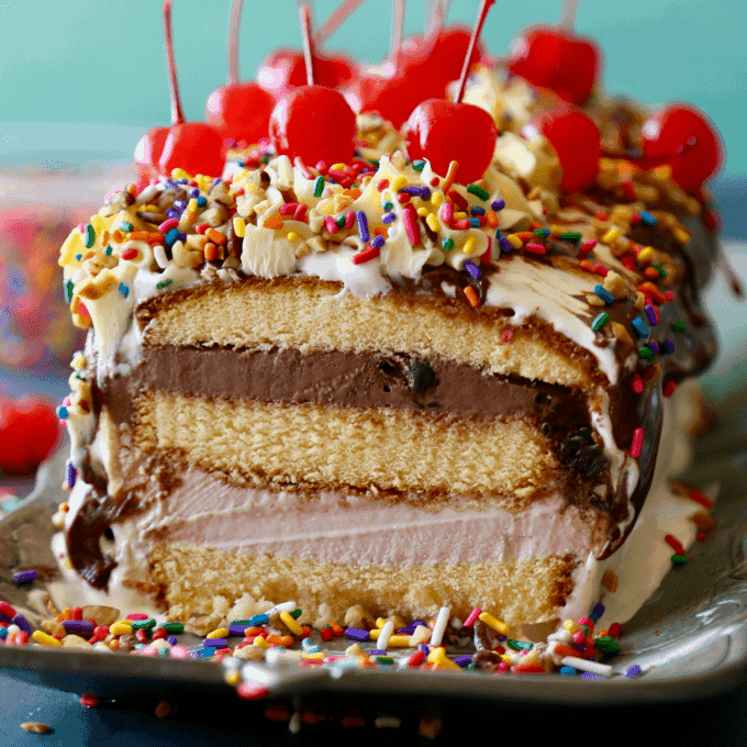 No Bake Ice Cream Cake - delicious with pound cake, ice cream, hot fudge and sprinkles - don't forget the cherry on top!