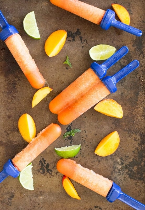 Peach Mint Rum Popsicles by Around my Family Table and other amazing adult popsicle recipes!