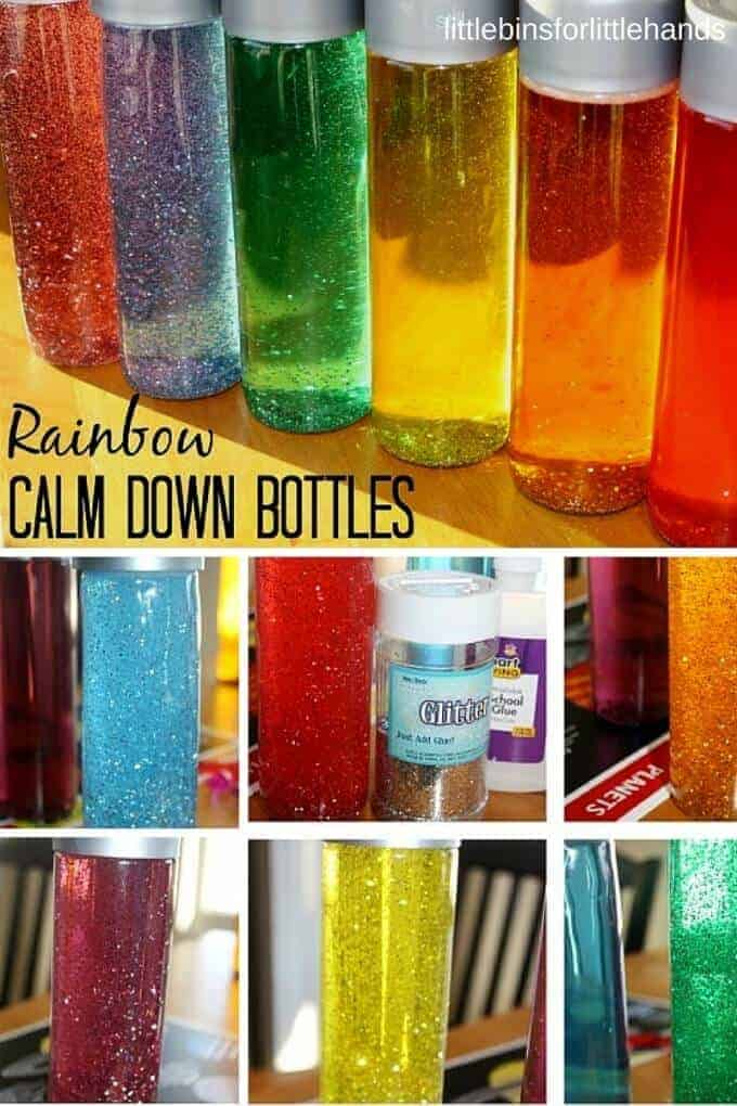 Rainbow Glitter Bottles by Little Bins for Little Hands