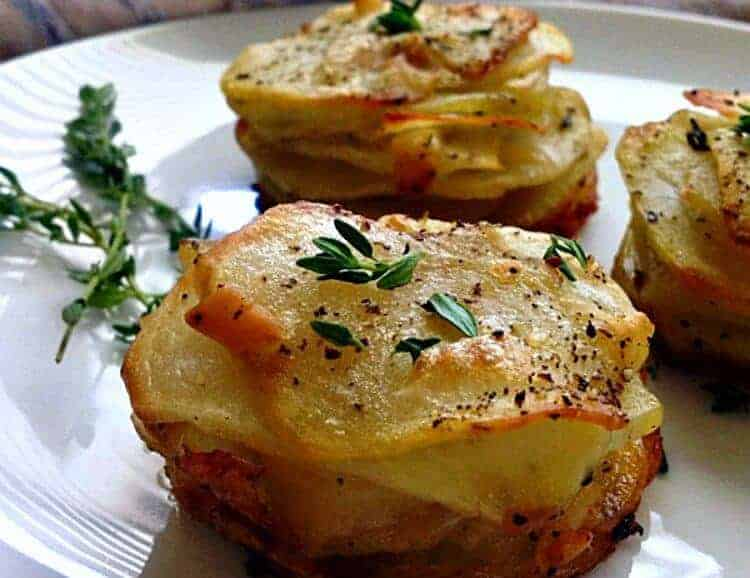 Smoked Gouda Muffin Tin Potato Stacks by A Gouda Life | Muffin Tins are for more than just cupcakes and muffins. You are going to love these muffin tin recipes!
