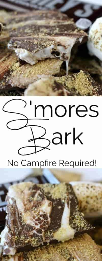 S'mores Bark is an easy chocolate bark with chocolate, graham cracker and melted marshmallows. These indoor s'mores require no campfire and you can enjoy them all year round!