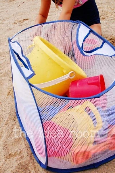 Store sand toys in a mesh bag from the Idea Room