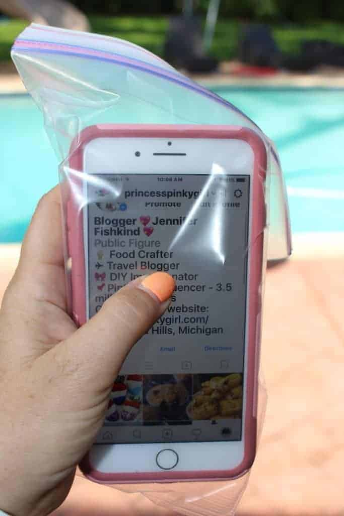 Use a plastic bag to protect your phone from pool, beach, ocean and sand. Great beach hack