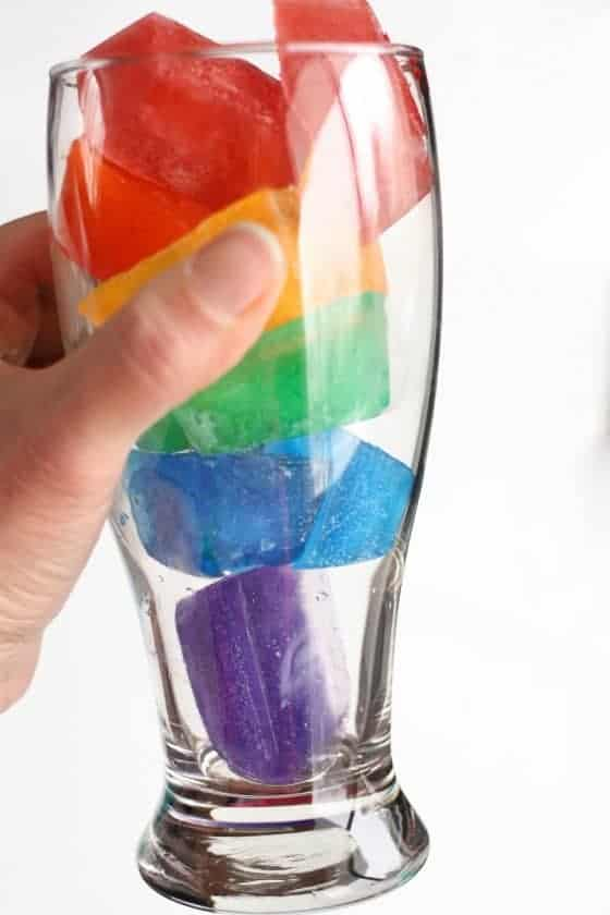 Rainbow ice cubes that turn into rainbow water from Happy Hooligans and other great ice cube tray hacks