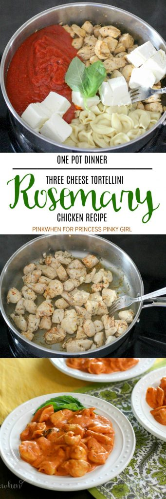 This Three Cheese Tortellini Rosemary Chicken Recipe will become a new family dinner favorite. A quick and easy one pot dinner which can be made in less than 30 minutes!