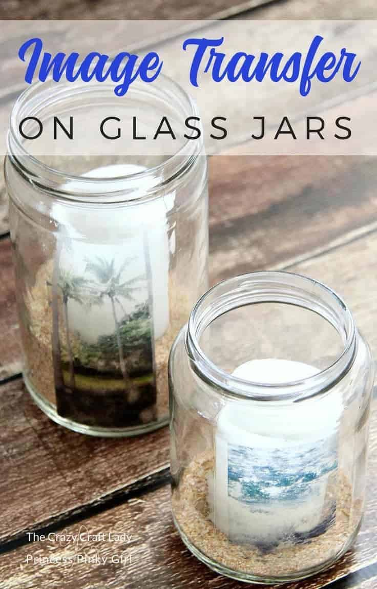 Make a glass jar image transfer craft project. Learn how to easily transfer any image or text onto a glass jar, no special tools or supplies needed.