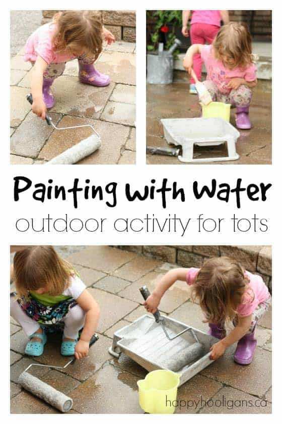 Painting with Water- A toddler activity idea by Happy Hooligans | Get outside and have some fun with your family with these great ideas for outdoor activities for kids.