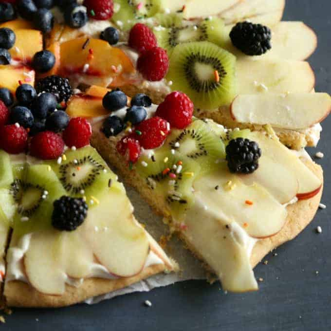 Sugar Cookie Fruit Pizza - raspberries, kiwi, blueberries, peach and more!