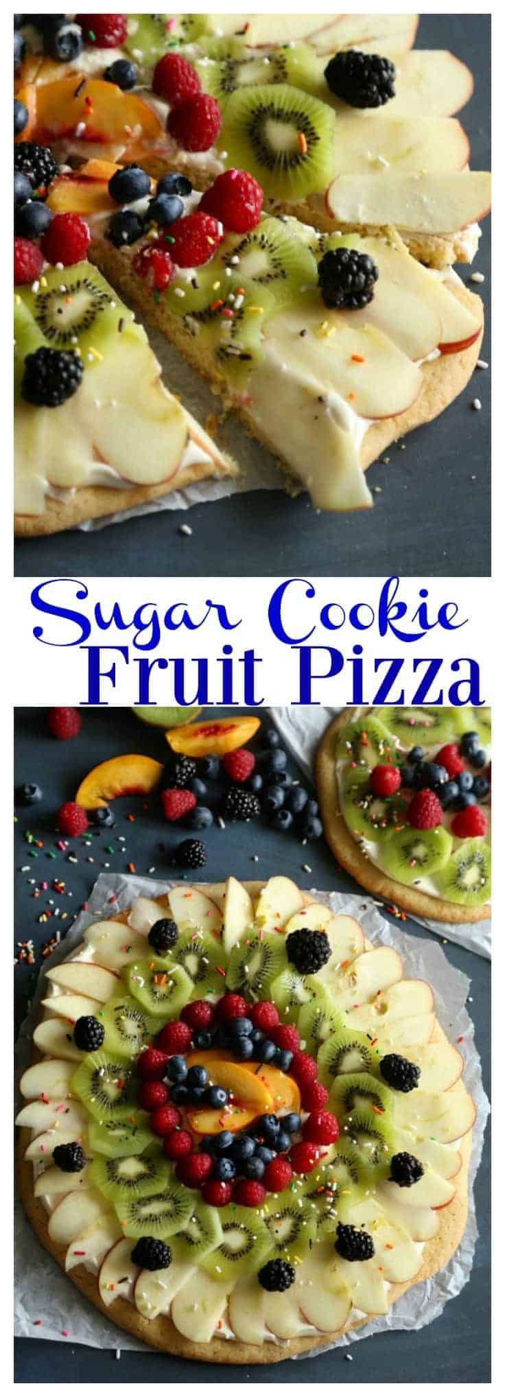 Sugar Cookie Fruit Pizza with cream cheese frosting. This easy dessert will soon become a family favorite. Raspberries, kiwi, peaches, blueberries - choose your favorite fruit toppings