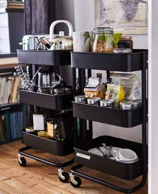 Utility carts are the perfect organizers for a small space, like a dorm room or small kitchen