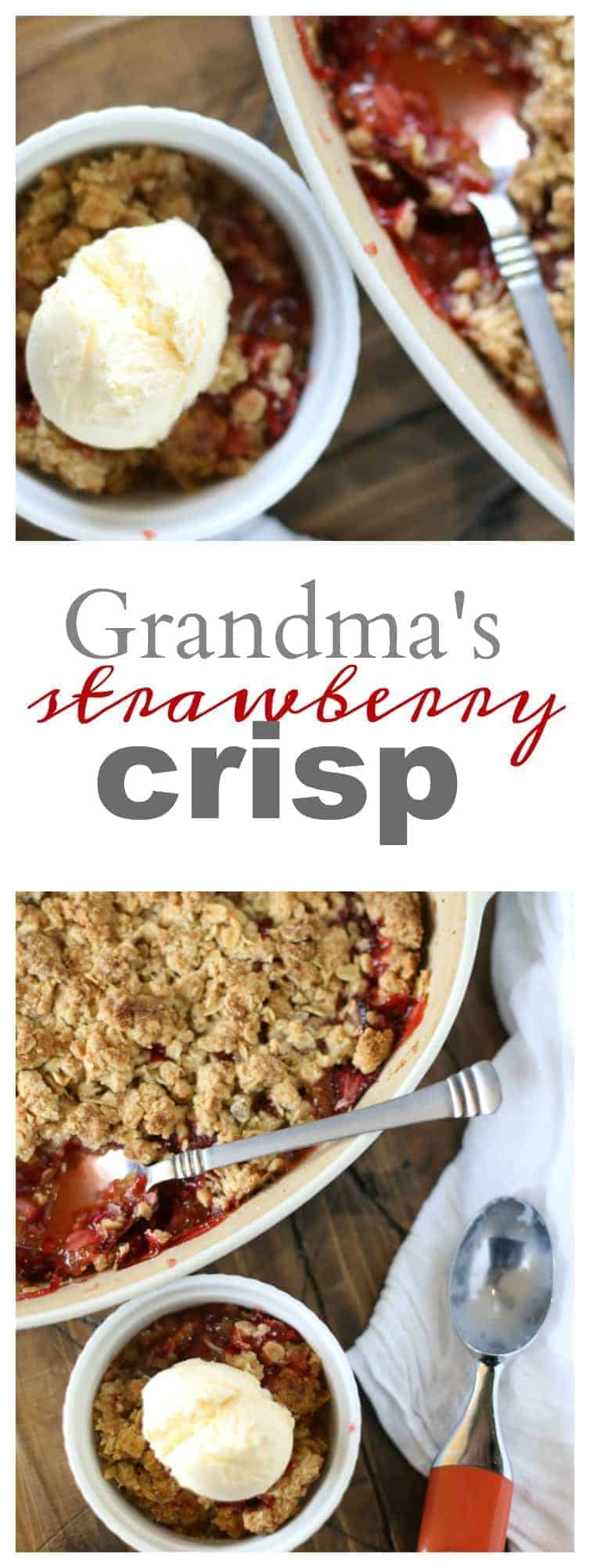 Strawberry Crisp - My grandma's original recipe! Serve it warm with some vanilla ice cream melting on top! Yum!!