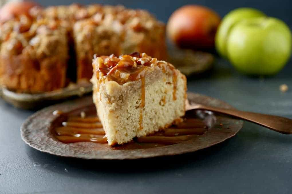Slice of Caramel Apple Coffee Cake with Caramel drizzle