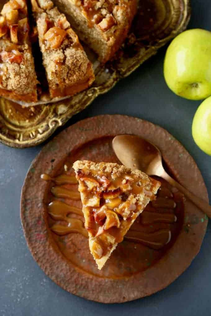 Caramel Apple Coffee Cake with spoon