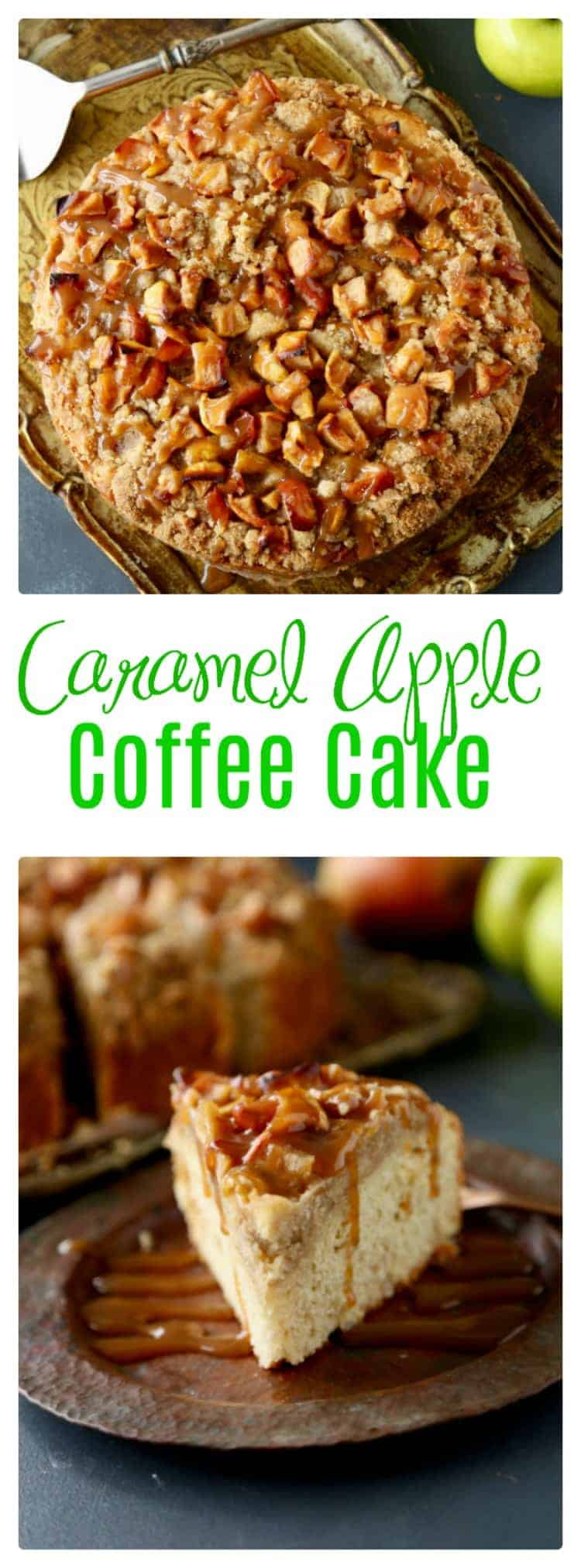 THE BEST CARAMEL APPLE COFFEE CAKE! This Caramel Apple Coffee Cake is the perfect Fall treat. With a butter base and deliciously sweet crumb caramel apple topping, it will make you swoon.
