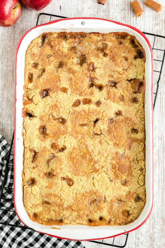 Caramel Apple Dump Cake baked in a pan