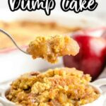 Caramel Apple Dump Cake with a bite on a spoon