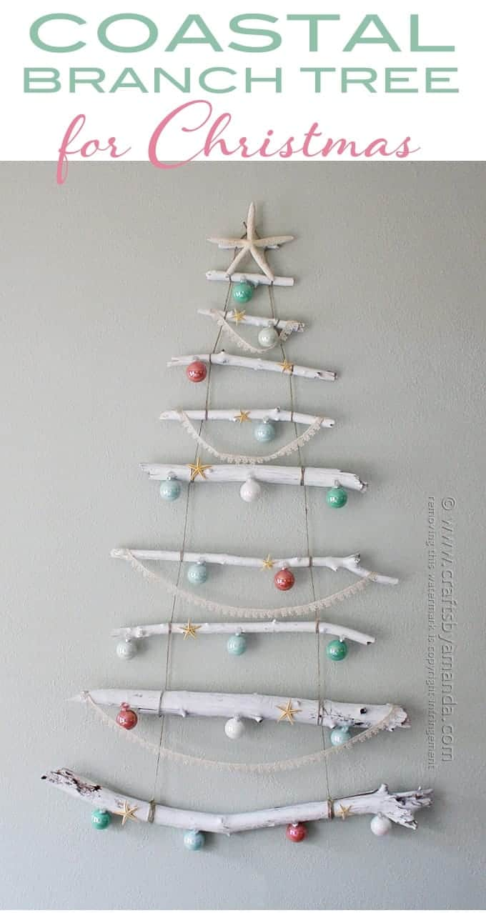 Coastal Branch Christmas Tree via Crafts by Amanda | Totally cool and unique Christmas trees ideas!
