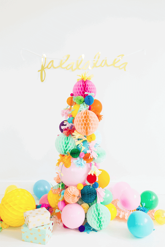 DIY Pom Pom Christmas Tree Idea by Sugar and Cloth and other unique Christmas Tree Decorating Ideas