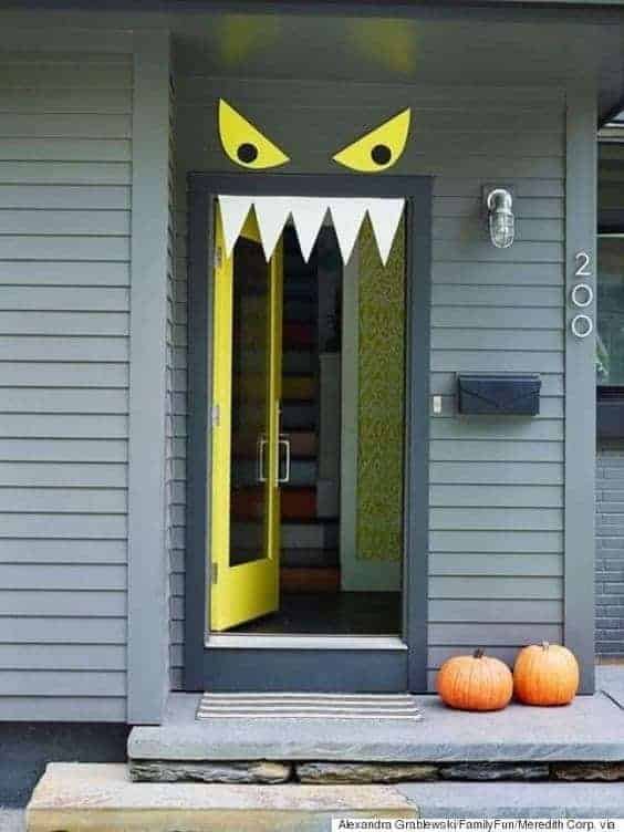 Monster Door via Family Fun Magazine | and other great Halloween Door decorations