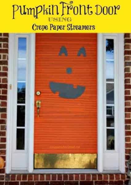 Pumpkin Front Door Using Crepe Paper Streamers by Coupons are Great | and other great Halloween Door decoration ideas