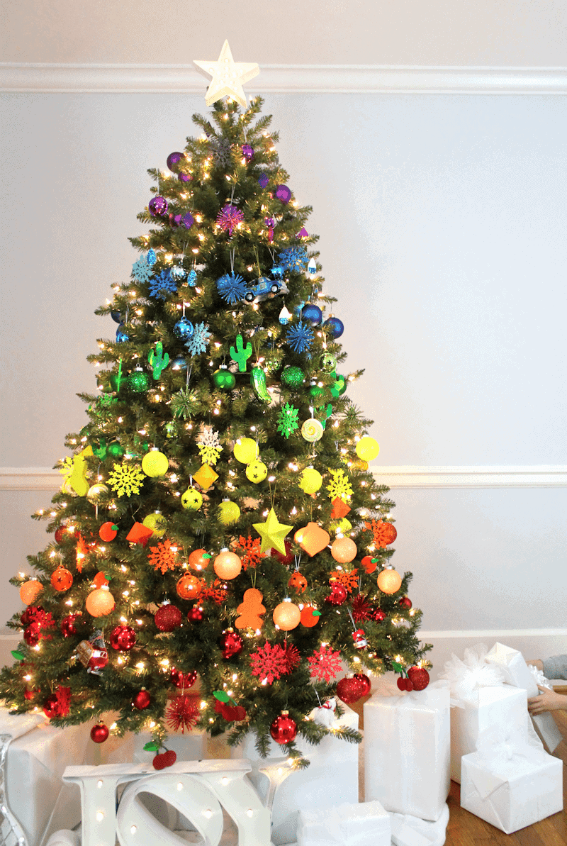 Rainbow Christmas Tree by Lines Across | and other unique Christmas Tree Decorating Ideas
