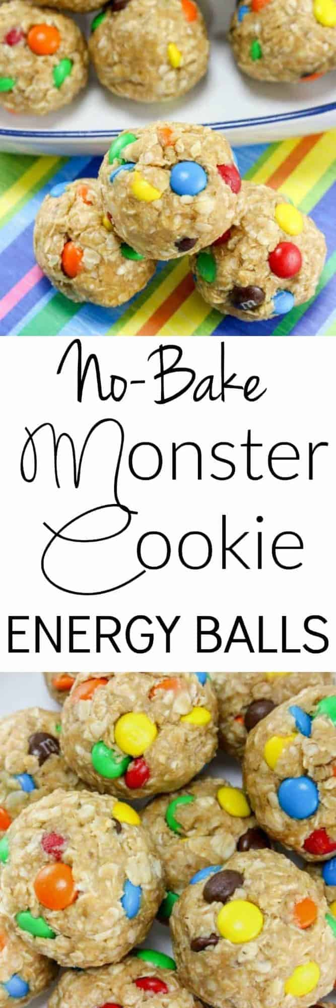 These No-Bake Monster Cookie Oatmeal Energy Balls are so easy to make and are the perfect healthy after school snack