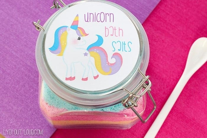 Unicorn Fizzy Bath Salts by Lydi Out Loud | Dozens of Magical Unicorn Ideas for Kids of All Ages!